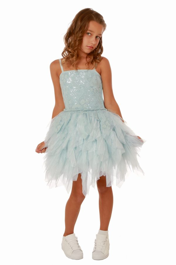 Young girl wearing a Ooh la la Couture Emma Dress in Sky Blue. Gorgeous lace and jersey bodice with spaghetti straps and stunning tiered tulle skirt from Silhouette London, Girls party dress specialists in London.