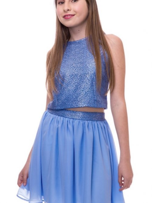 Young girl wearing a Un Deux Trois Chiffon Skirt in Light Blue. soft Chiffon Skirt with Sequin Waistband from Silhouette London, Girls party dress specialists in London.