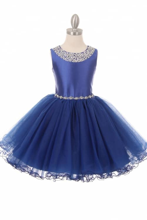 Cinderella Couture Dress Style 9016N Satin bodice with crystal embellishment on the neckline and on the waistband tops a fabulously full tulle skirt from Silhouette London, Girls party dress specialists in London.