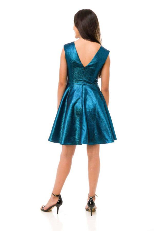 Cap sleeve shimmer Dress in Peacock Blue Back