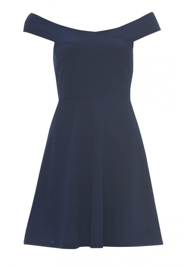 AX Paris Bardot Jersey Skater Dress in Navy from Silhouette London, a Prom and Party Fashion Boutique in Harrow, Greater London.