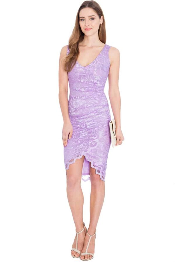 Young Woman wearing a Lilac Lace Crossover Bodycon Dress from Silhouette London a Party Dress Boutique in Greater London