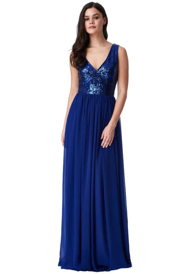 Young women wearing a Sequin and Chiffon V Neck Dress in Royal Blue. Plunge sequin bodice and flowing chiffon skirt from Prom Dress Boutique Silhouette London