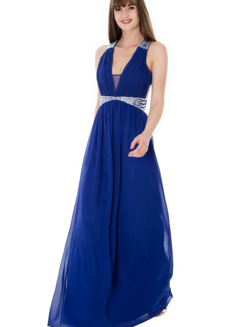 Young women wearing a Chiffon Maxi Dress in Royal Blue. Plunge neck with criss cross back and floaty chiffon skirt adorned with crystals at the waistband and the straps from Prom Dress Boutique Silhouette London.