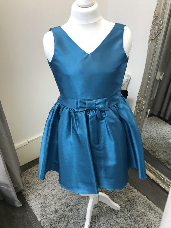 Un Deux Trois Taffeta Dress in Teal from, Silhouette London, Girls Party Dress Specialist in London