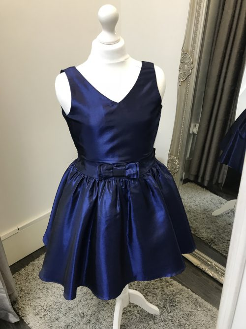 Un Deux Trois Taffeta Dress in Navy from Silhouette London, Girls Party Dress Specialist in London