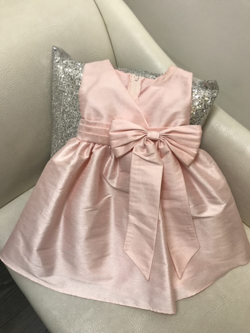 V Neck Taffeta Dress in Light Pink on Silver Sequin Cushion from Silhouette London a Girls Party Dress Boutique in Greater London