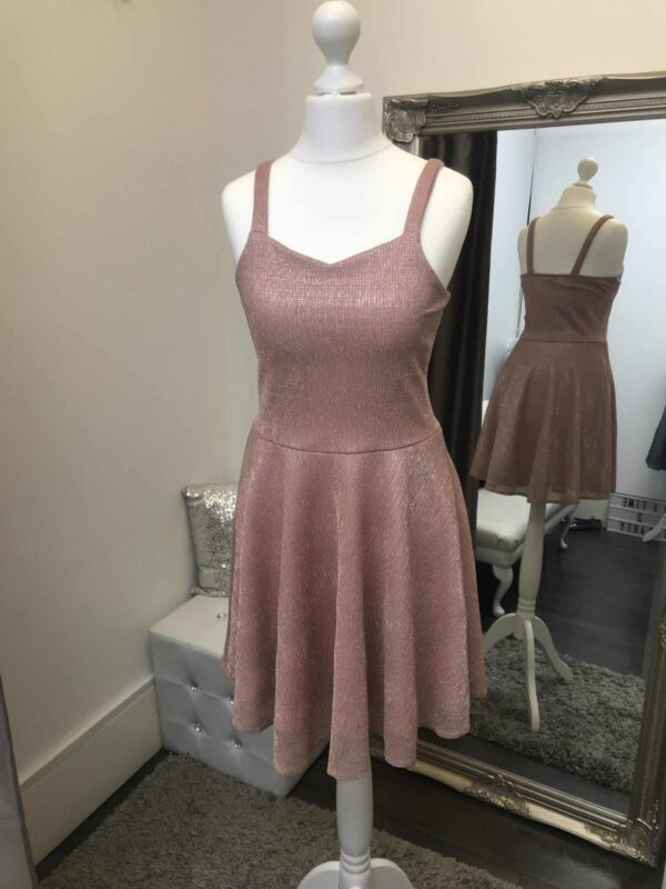 Sally Miller Elsa Dress in Blush Pink. Skater dress with wide spaghetti straps and a sweetheart neckline from Silhouette London, Girls party dress specialists in London