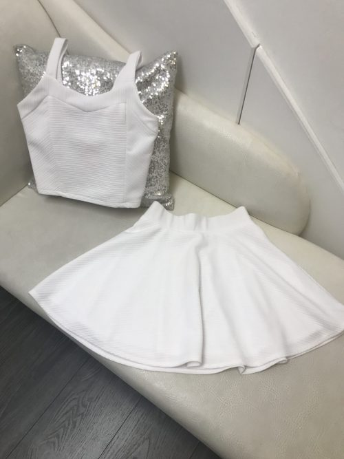 Sally Miller Willow Two Piece in White. From Silhouette London, Girls party dress specialists in London.