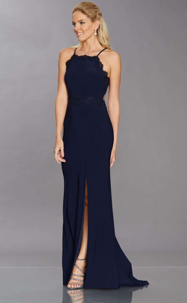 Young women wearing a Tiffany Illusion Prom Isobella Dress in Navy. Stunning Long Prom Dress from Prom Dress Boutique Silhouette London