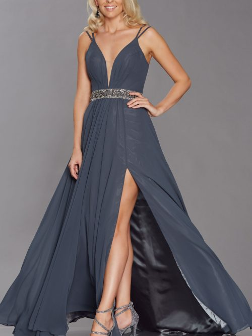 Young women wearing a Tiffany Illusion Prom Laurelle Dress in Charcoal. Long chiffon dress with plunge neckline, crystal waistband and flowing skirt with side split from Prom Dress Boutique Silhouette London