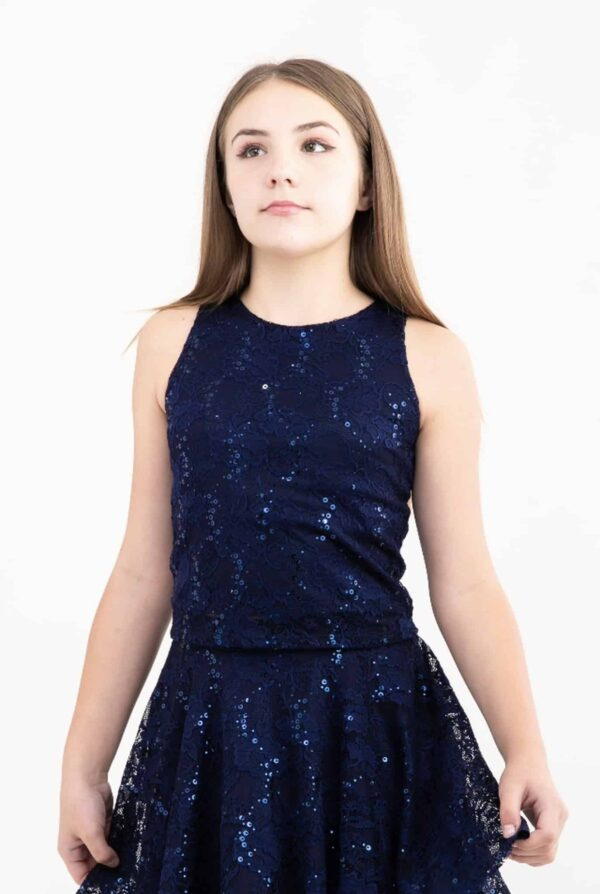 Teenage Girl wearing aNavy lace and sequin Tank Top from Silhouette London a specialist Girls Party Fashion Boutique in Greater London