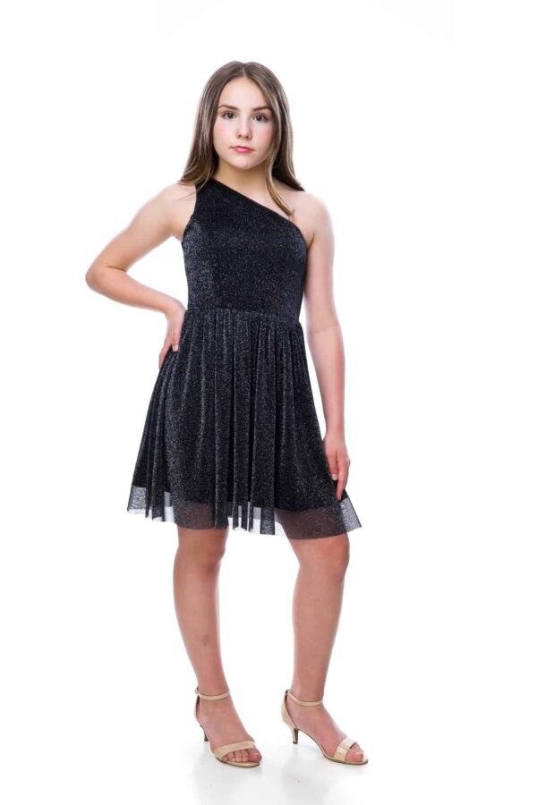 Teenage Girl wearing an Un Deux Trois One Shoulder Black Shimmer Dress from Silhouette London a Batmitizvah Dress specialist Boutique in Greater London