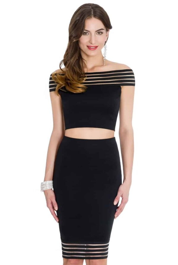Young Woman wearing a Jersey Black Bardot Top and Midi Skirt Two Piece Set from Silhouette London a Teen Party Boutique in Greater London