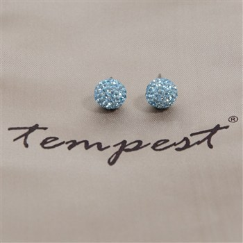 Tempest Designs Shamballa Ball Crystal Earrings in Aqua from Silhouette London