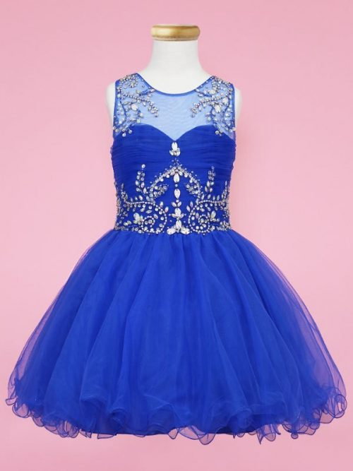 Calla Collection Dress TY003 in Royal Blue. Fabulous crystal embellishment on front and back of the bodice with a fabulously full tulle skirt and keyhole back detail from Silhouette London, Girls party dress specialists in London