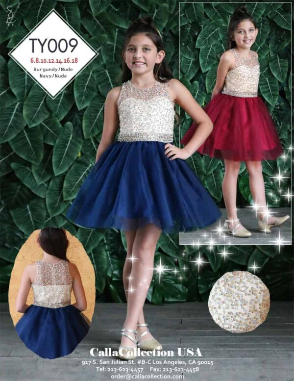 Young girl wearing a Calla Collection Dress TY009 inNude/Navy from Silhouette London, Girls party dress specialist in London