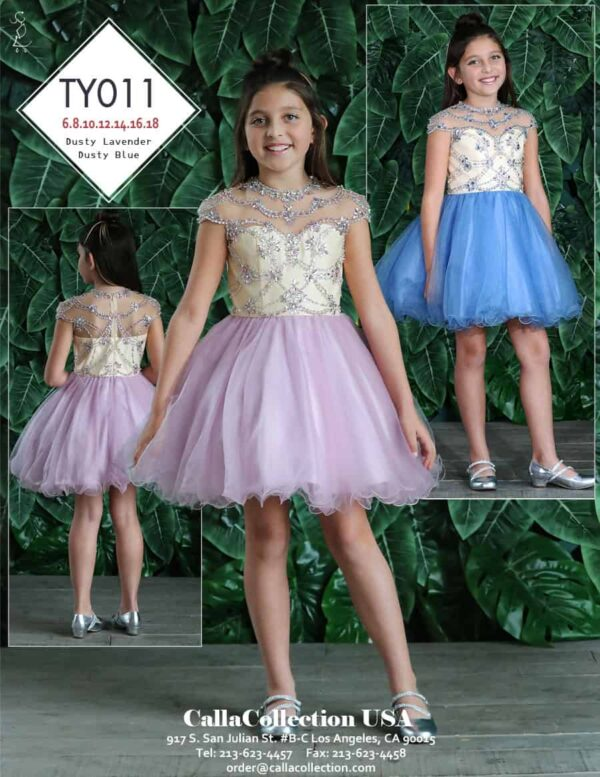 Young girl wearing a Calla Collection Dress Style TY011 Fabulous cap sleeve embellished bodice with gorgeous dusty blue full tulle skirt from Silhouette London, Girls party dress specialist in London