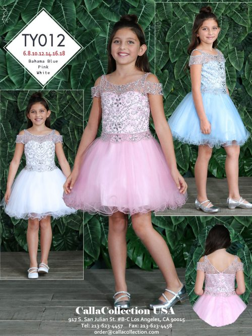 Young girl wearing a Calla Collection Dress TY012 in Pink. Embellished bodice with cold shoulder detail and full tulle skirt from Silhouette London, Girls party dress specalists in London