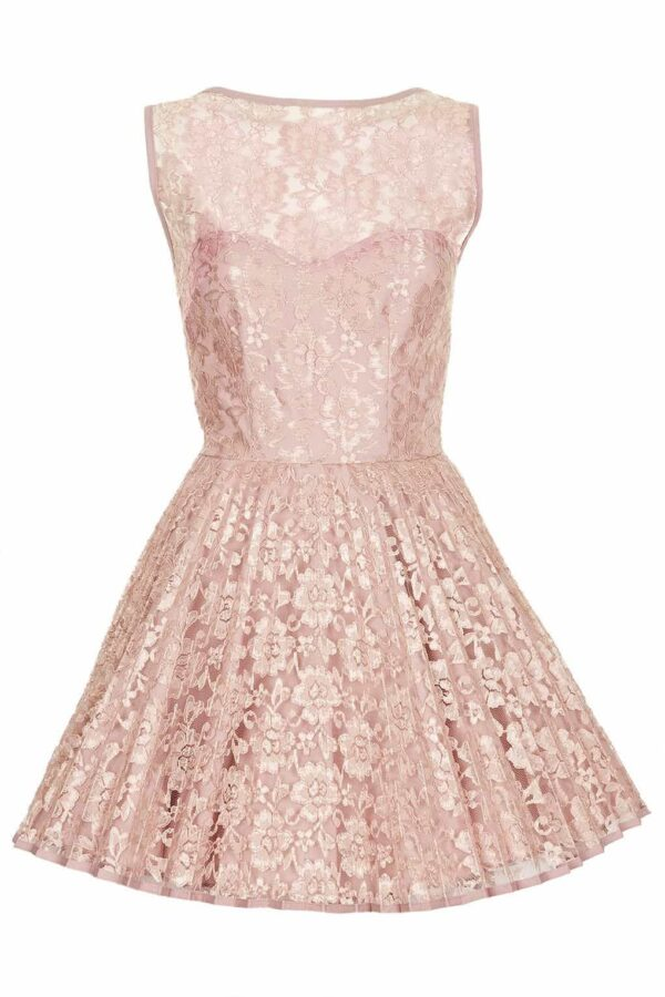 Jones and Jones Vicky Lilac dress. Gorgeous dusky pink lace and pleated skater style skirt from Party Dress Boutique Silhouette London