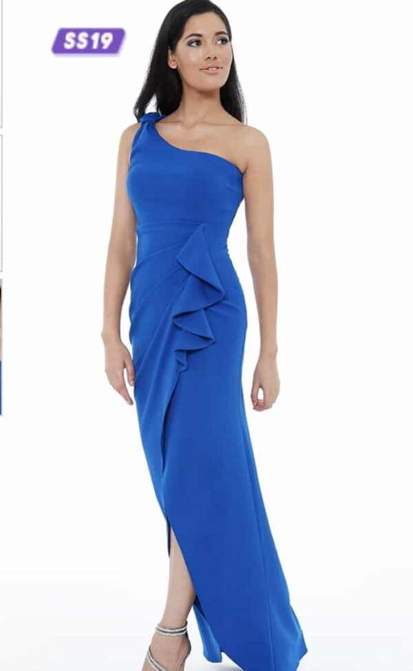Young women wearing a One Shoulder Stretch Crepe Dress in Royal Blue. Crepe one shoulder ruched number with bow detail and high low tulip skirt from Prom Dress Boutique Silhouette London