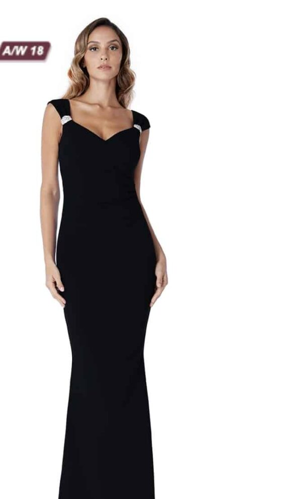 Young women wearing a Long Black Stretch Crepe Dress with a sweetheart neckline and wide crystal embellished straps from Prom Dress Boutique Silhouette Londo