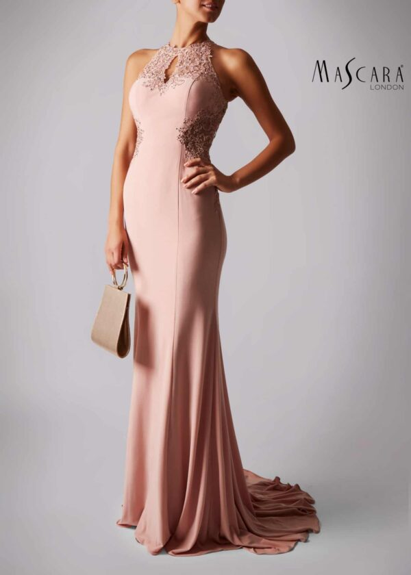 Young woman wearing a Mascara Collection Style MC181359G Lace and Jersey Long Prom Dusty Pink Dress from Prom Dress Boutique Silhouette London.