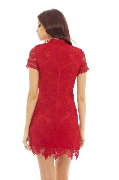 red crochet floral mini dress 2