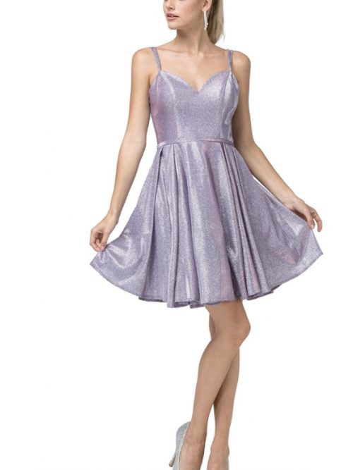 Young woman wearing Daning Queen Dress Style 3144 in Lilac all over shimmer with sweetheart neckline and full skater skirt from Silhouette London, a Teen Prom and Party Dress Boutique in Greater London