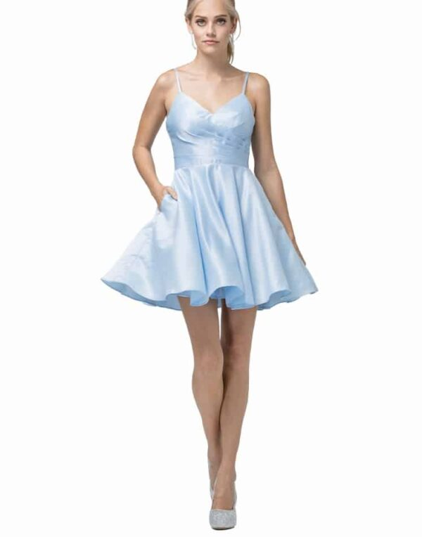 Young Woman Wearing Dancing Queen Dress 3059 in Sky Blue, Ruched sweetheart neckline with spaghetti straps and skater skirt from Silhouette London a Teen Prom and Party Boutique in Greater London