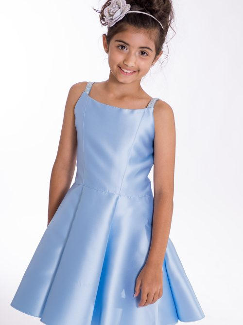 Young Girl wearing Zoe Ltd Jenna II dress in sky blue from Silhouette London a Girls and Teen Prom and Party Dress Boutique in Greater London