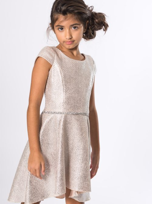 Young Girl Wearing Zoe Ltd Sabine Dress in Silver from Silhouette London a Girls Party Dress Boutique in Greater London