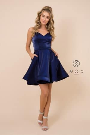 Young Woman wearing Nox Anabel Style M689 in Navy from Silhouette London a Prom and Party Fashion Boutique in Greater London