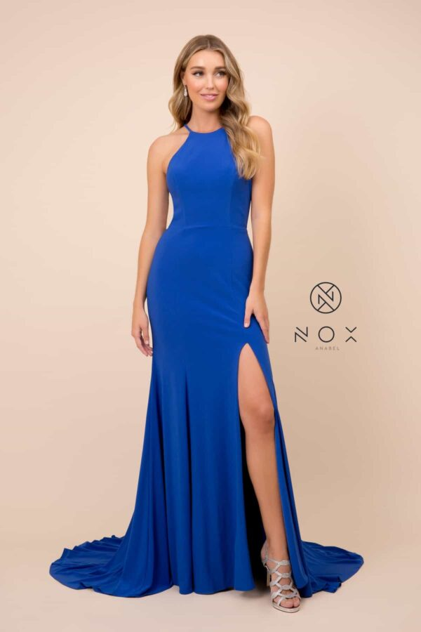 Young Woman wearing Style Q131 in Royal Blue from Silhouette London a Prom and Party Fashion Boutique in London