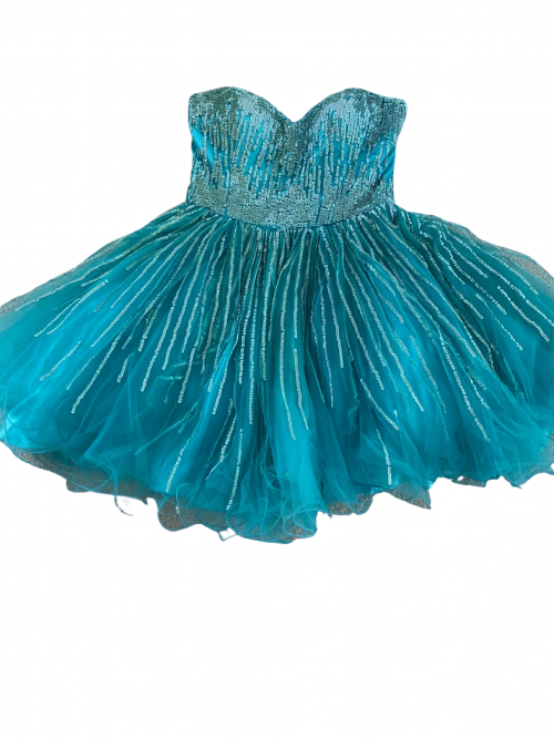 Terani Couture Turquoise Sequin Prom Dress Orlina