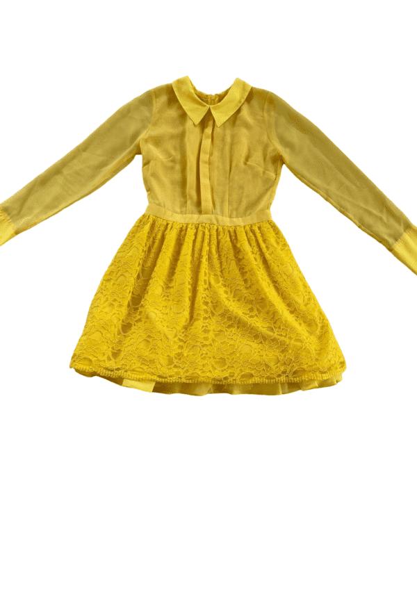 Yellow Chiffon Lace Long Sleeve Orlina