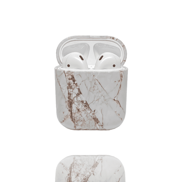 Rose Gold Marble Airpod case with airpods inside shown open.