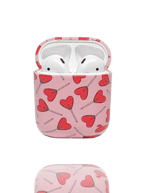 Candy Hearts Airpod Case on a white background open showing airpods inside available from Silhouette London a Teen Fashion Boutique in Greater London