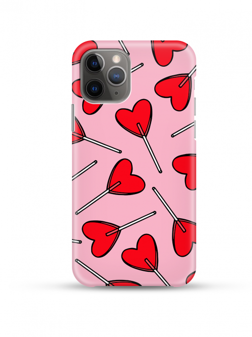 Candy Hearts Phone Case on a white background shown with phone inside available from Silhouette London a teen fashion boutique in Greater London
