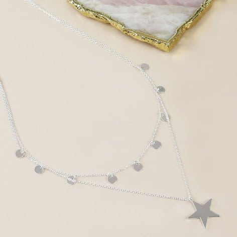 Silver plated Double Layer star necklace with shorter length with circle pendants ad longer length with single star pendant