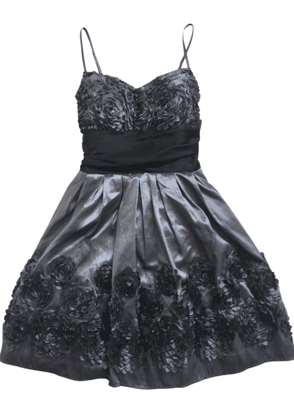 Pre-Loved Grey and Black Taffeta Party Dress by B Darlin on a white background available from Silhouette London, a teen fashion boutique in Greater London