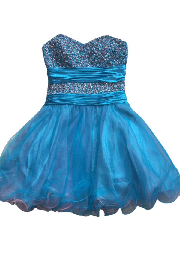 Stunning tuquoise and purple two tone sequin and tulle party dress with ruched satin waistband detail