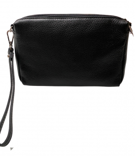 Black leather crossbody bag with three separate compartments and clutch strap on a white background available from Silhouette London a teen fashion boutique in London