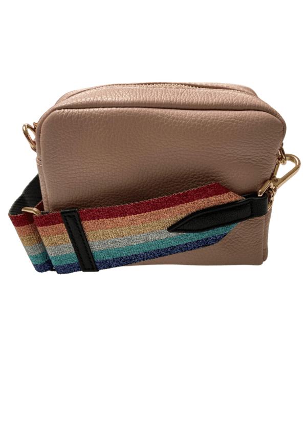 Blush Rose Bag 16x12 Glitter Stripe Strap