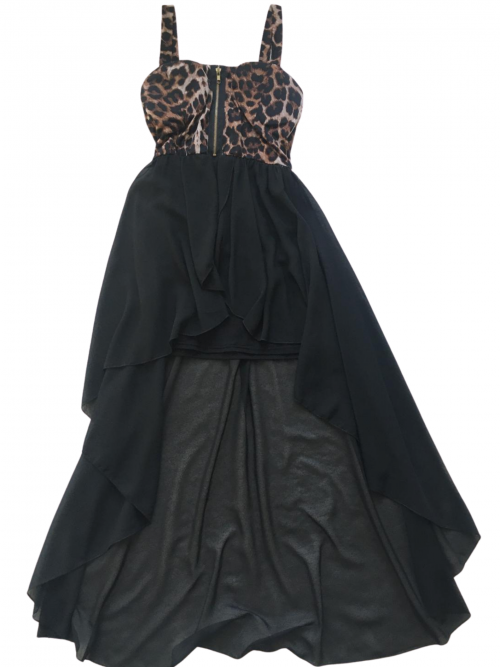Cameo Rose Dress with leopard sweetheart bodice with zip detail and high low chiffon black skirt on white background available from Silhouette London, Girls and Teen Fashion Boutique in Greater London