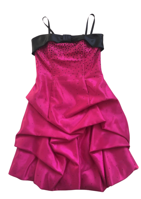 Pre-Loved Jessica McClintock Fuschia and Black tulle on Satin dress with black satin band detail at the top of the bodice, spaghetti straps and ruched pick up skirt. Dress on White background available from Silhouette London a teen fashion boutique in greater London