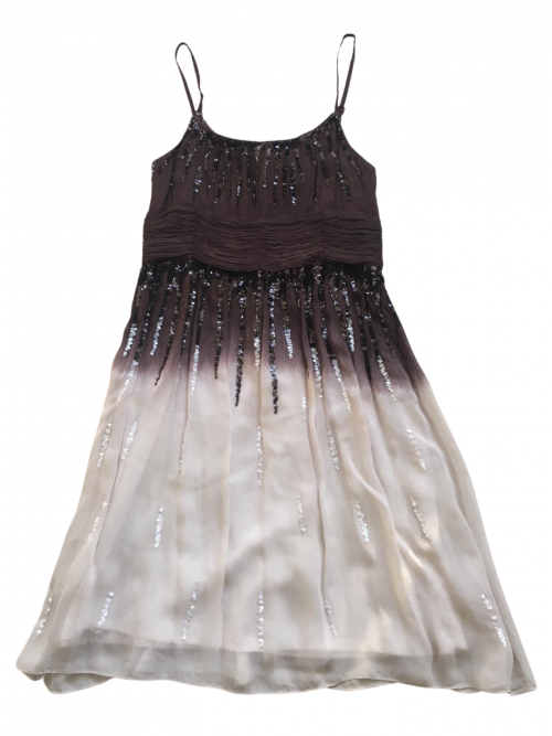 Pre-Loved embellished brown and cream chiffon Sara Sara Dress with spaghetti straps and loose chiffon midi skirt on a white background available from Silhouette London, a tween fashion boutique in Greater London