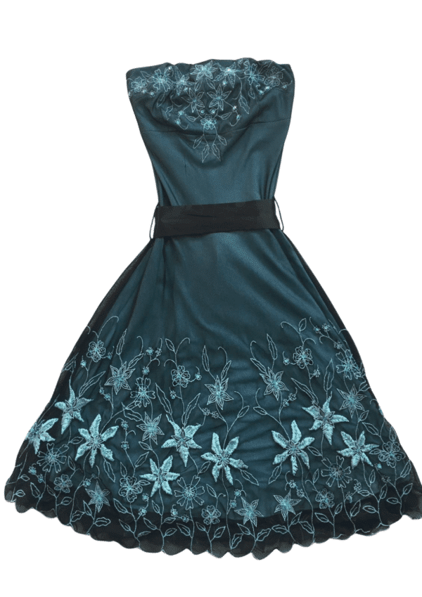 Pre-Loved black and teal strapless dress with stunning embellishment and embroidery throughout and black satin belt tie. Dress on White background available from Silhouette London, a tween fashion boutique in Harrow, Greater London