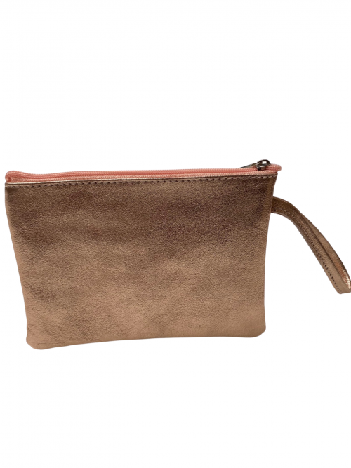 Rose Gold leather clutch bag with clutch strap on a white background available from Silhouette London, a teen fashion boutique in Greater London