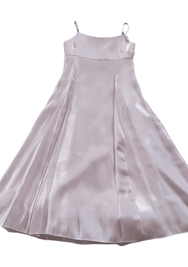 Stunning empire line pink satin Tiger Lily party dress on a white background from Silhouette London a pre-teen party dress boutique in Greater London